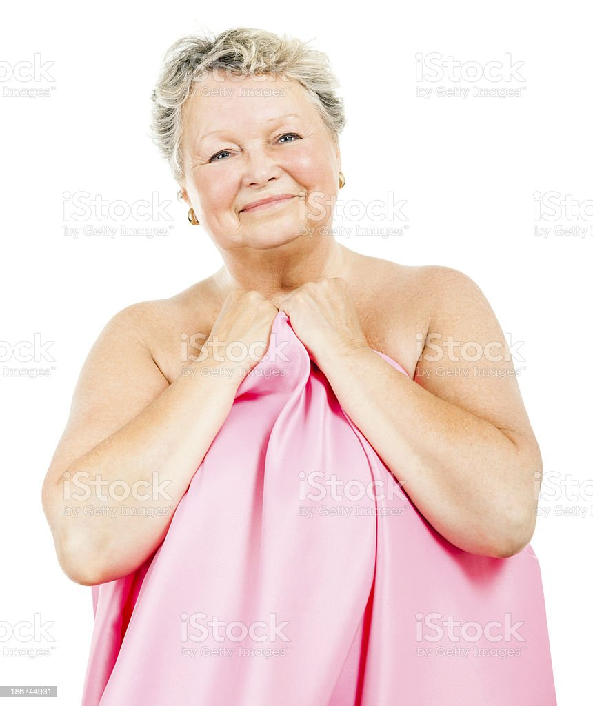 Senior Woman in Pink (Isolated on White) royalty-free stock photo