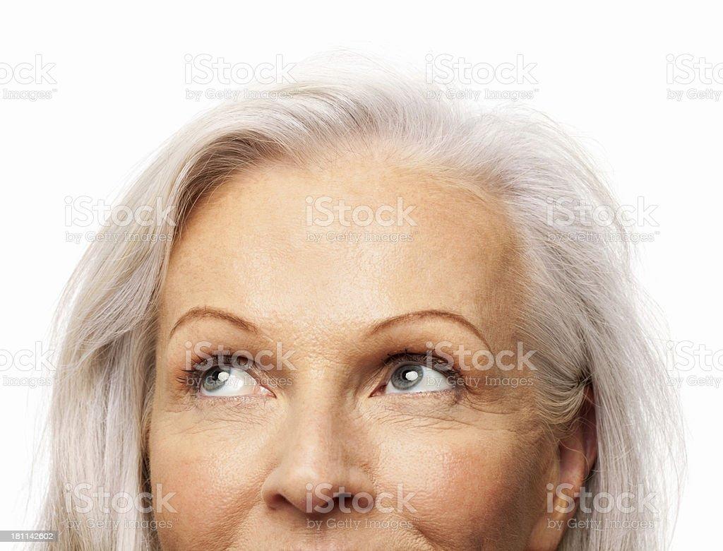 Senior Woman Looking Sideways - Isolated stock photo