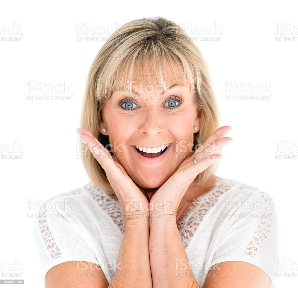 Senior woman looking surprised stock photo