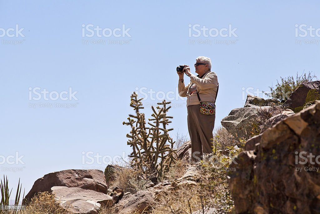 Senior Woman looks over the Valley of Fires stock photo