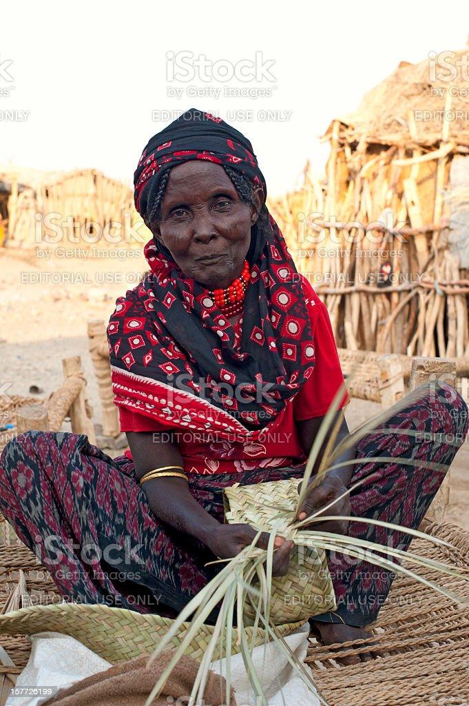 Senior woman of the Afar people, Danakil Desert, Ethiopia royalty-free stock photo