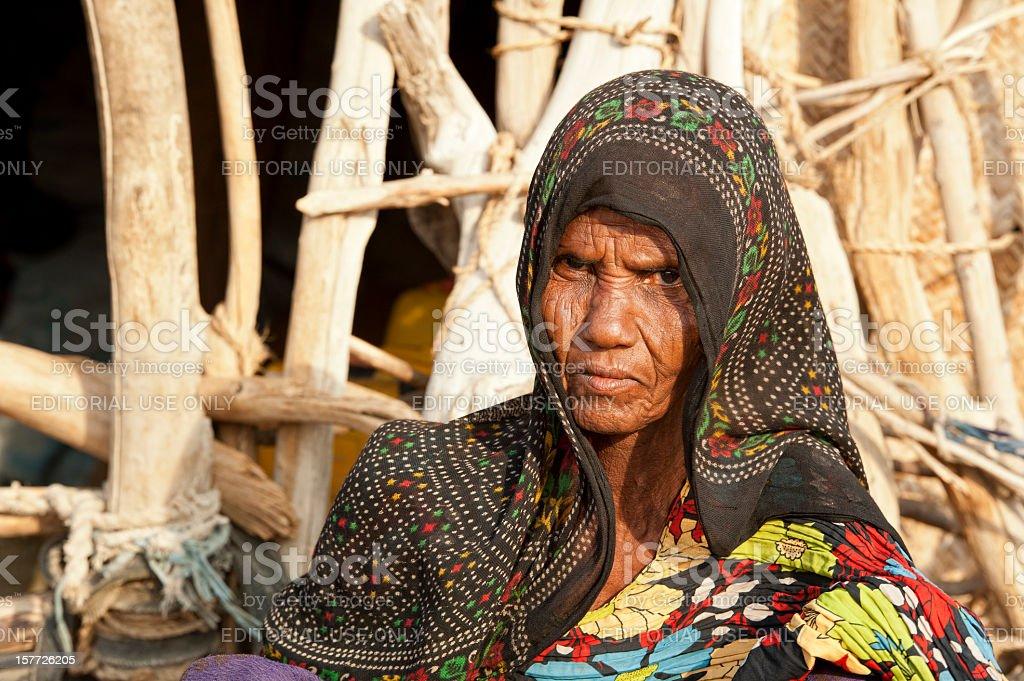 Senior woman of the Afar people, Danakil Desert, Ethiopia stock photo