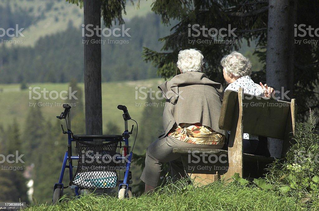 Senior woman on a bench royalty-free stock photo