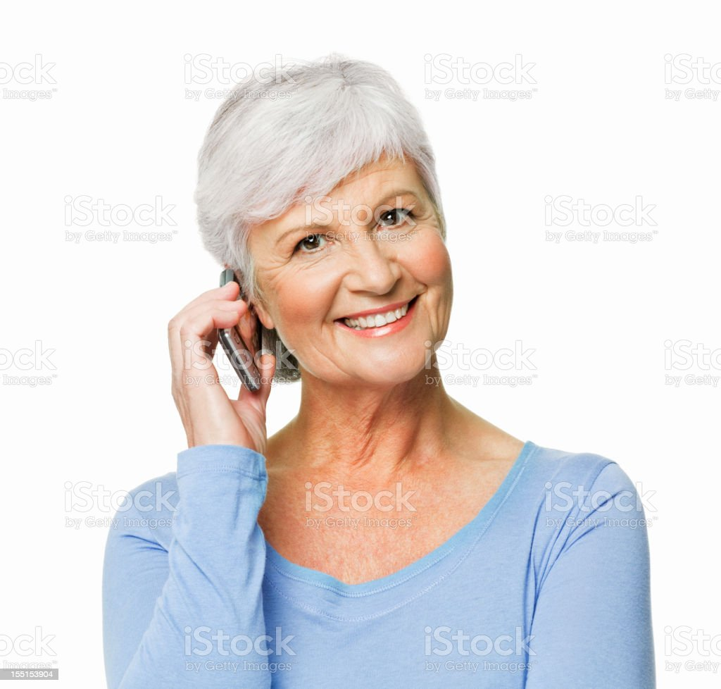 Senior Woman on a Cellphone - Isolated royalty-free stock photo