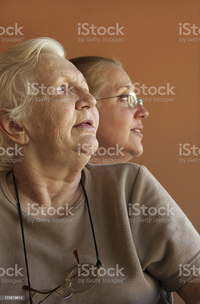 Senior woman past and present royalty-free stock photo