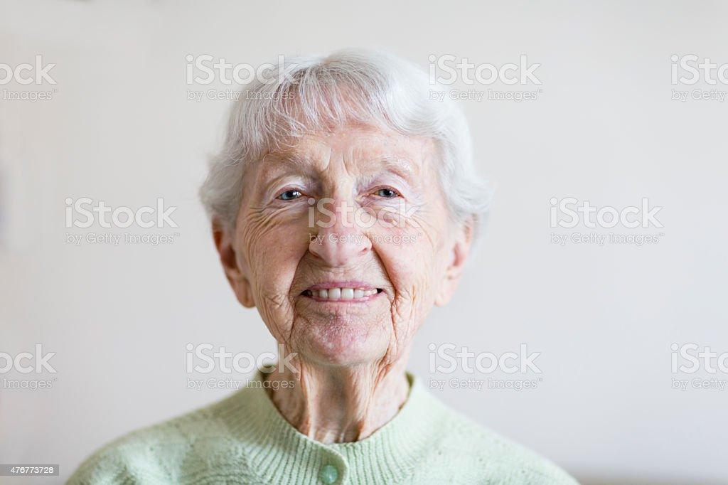 senior woman portrait happiness stock photo