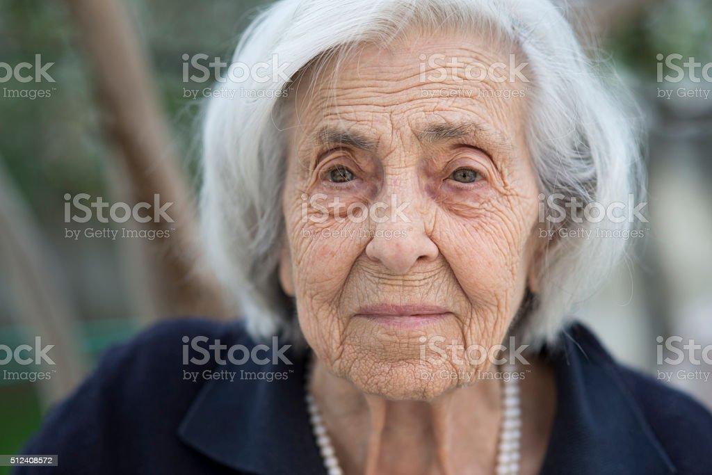 Senior woman portrait stock photo