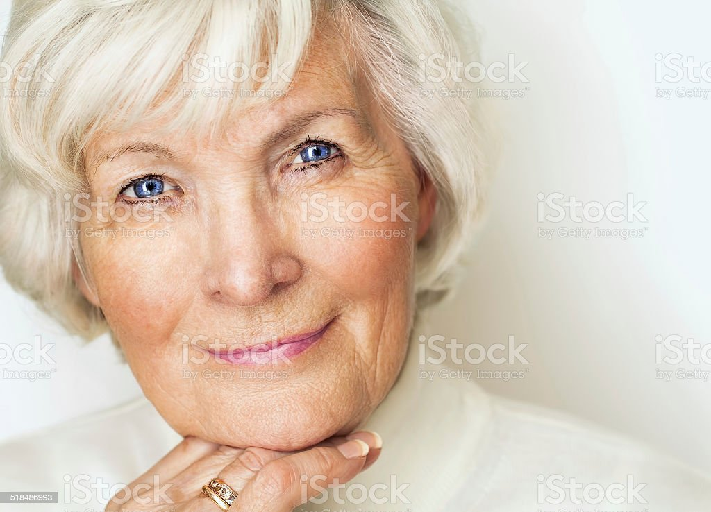 Senior woman portrait stock photo