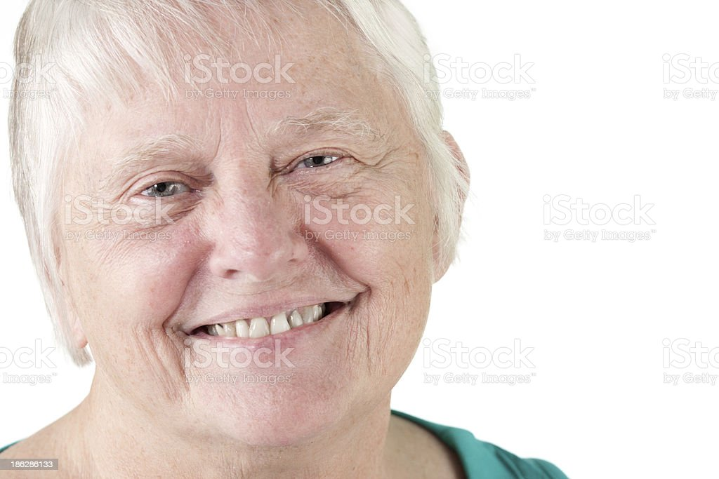 Senior woman portrait smiling stock photo