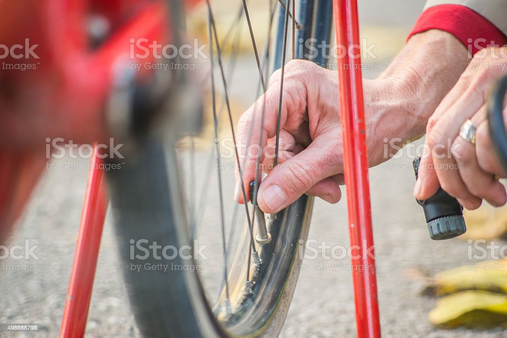 Senior Woman Portrait With Bicycle Outdoor stock photo