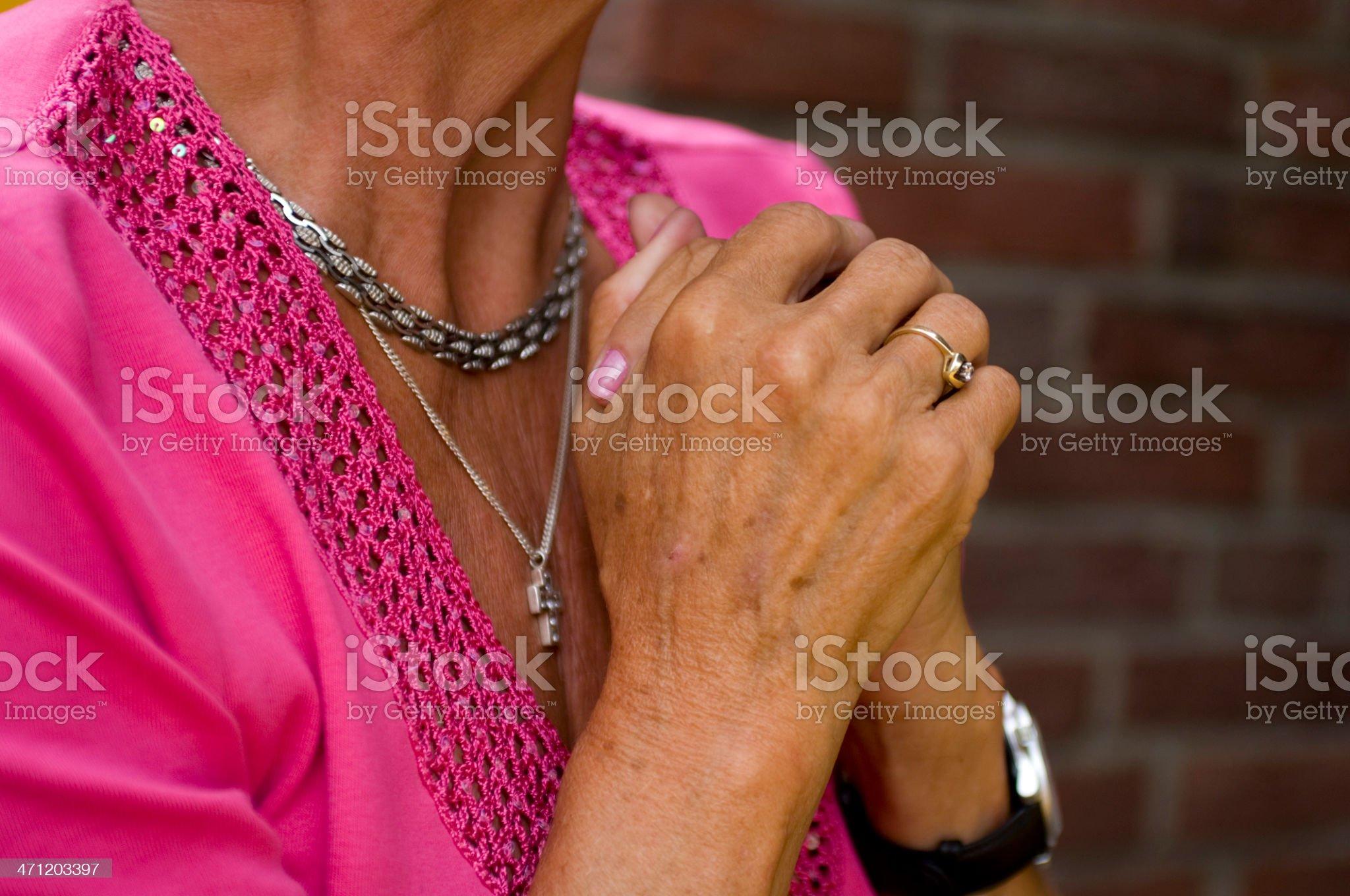 Senior woman praying royalty-free stock photo