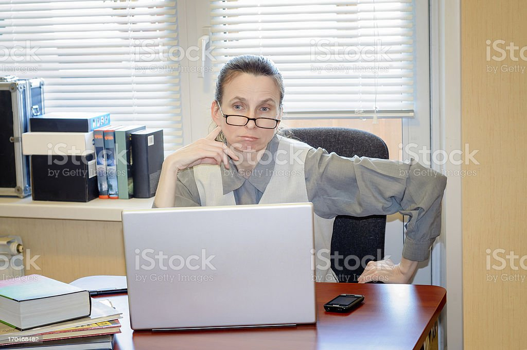 Senior Woman Raging Against the Computer royalty-free stock photo