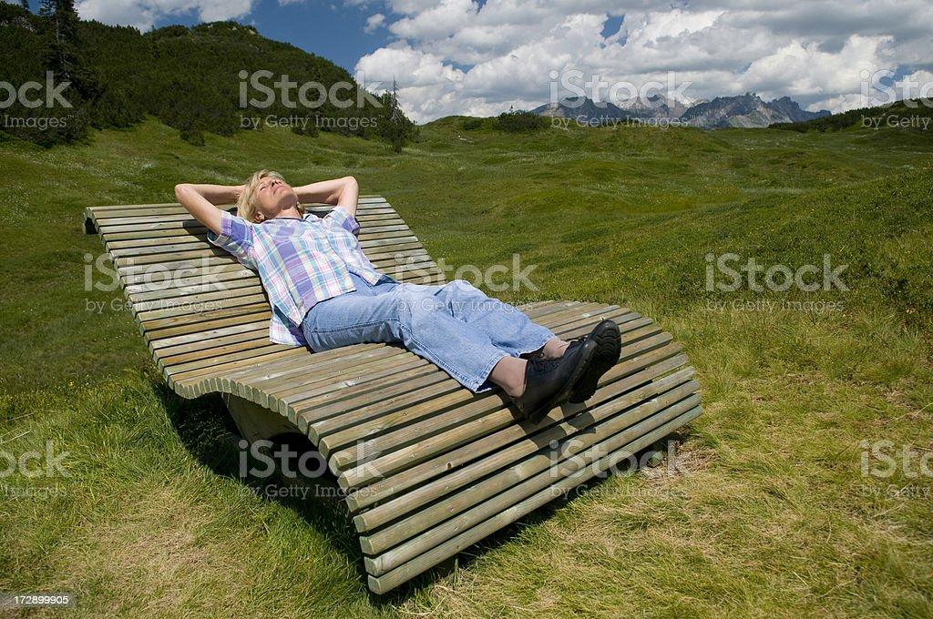 senior woman relaxing royalty-free stock photo
