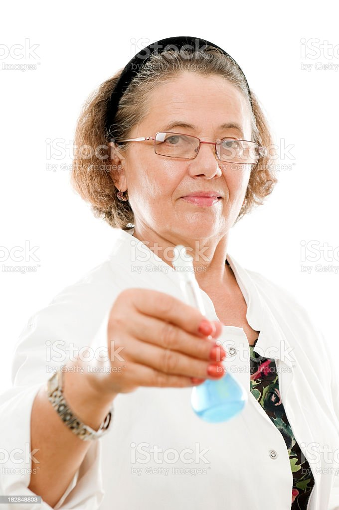 Senior woman scientist, isolated on white royalty-free stock photo