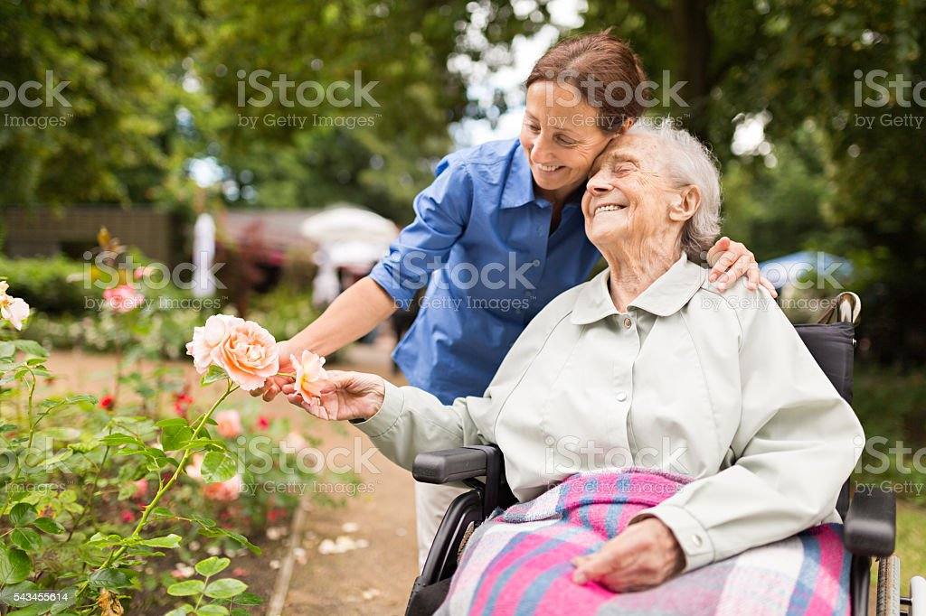 Senior woman sitting on a wheelchair with caregiver stock photo