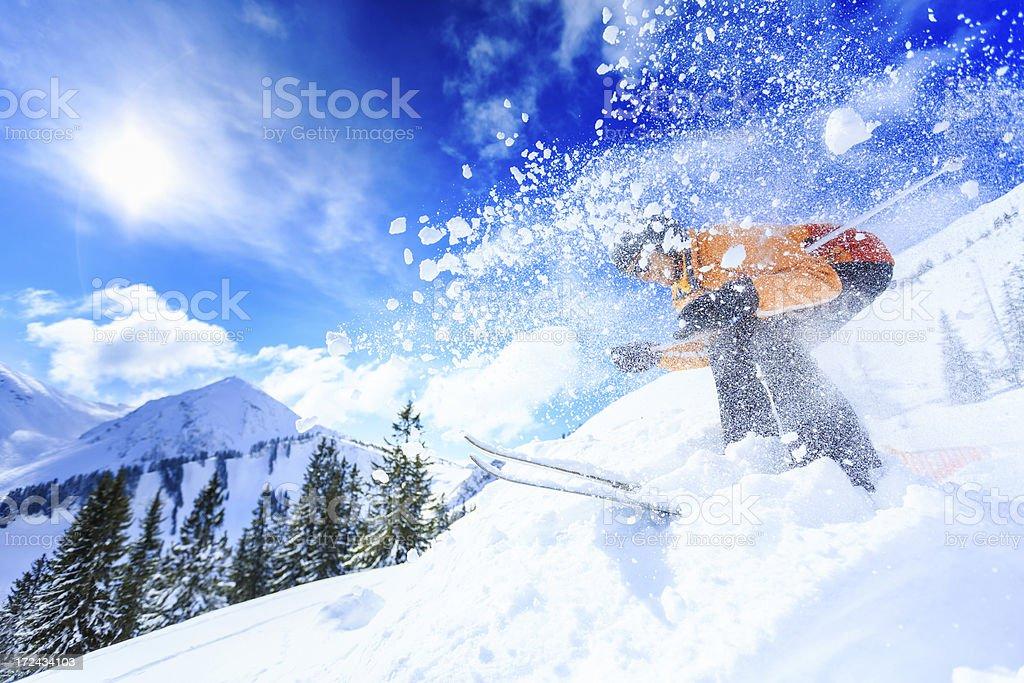 senior woman skiing stock photo