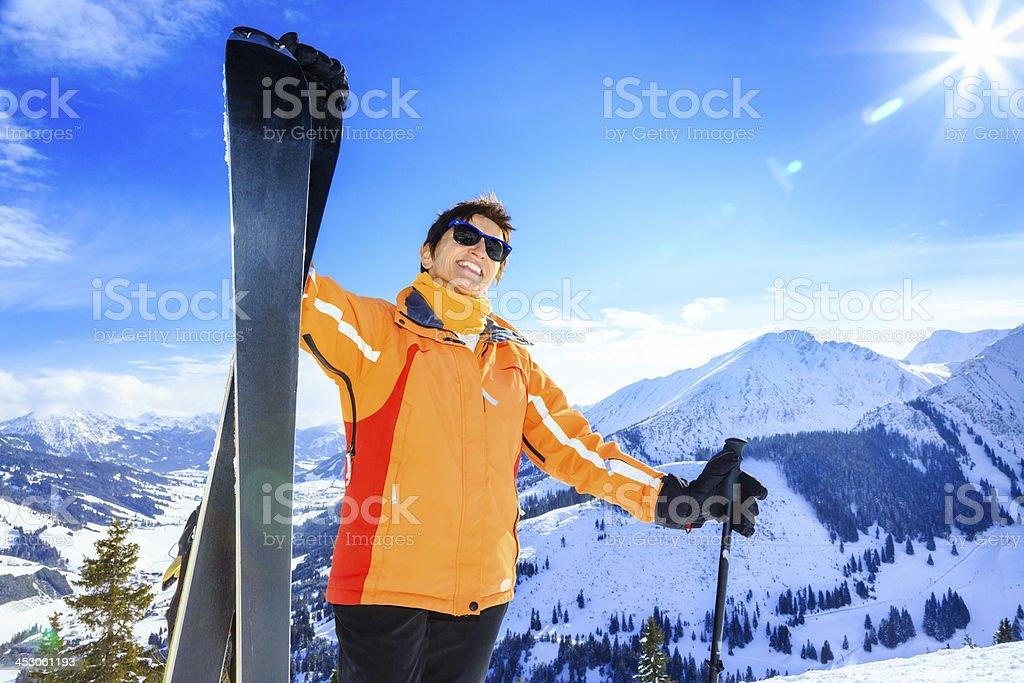 senior woman skiing royalty-free stock photo