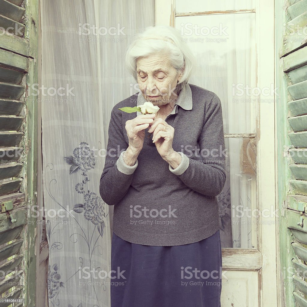 Senior Woman Smelling a Rose royalty-free stock photo