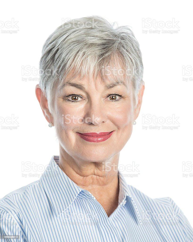 senior woman smiling stock photo