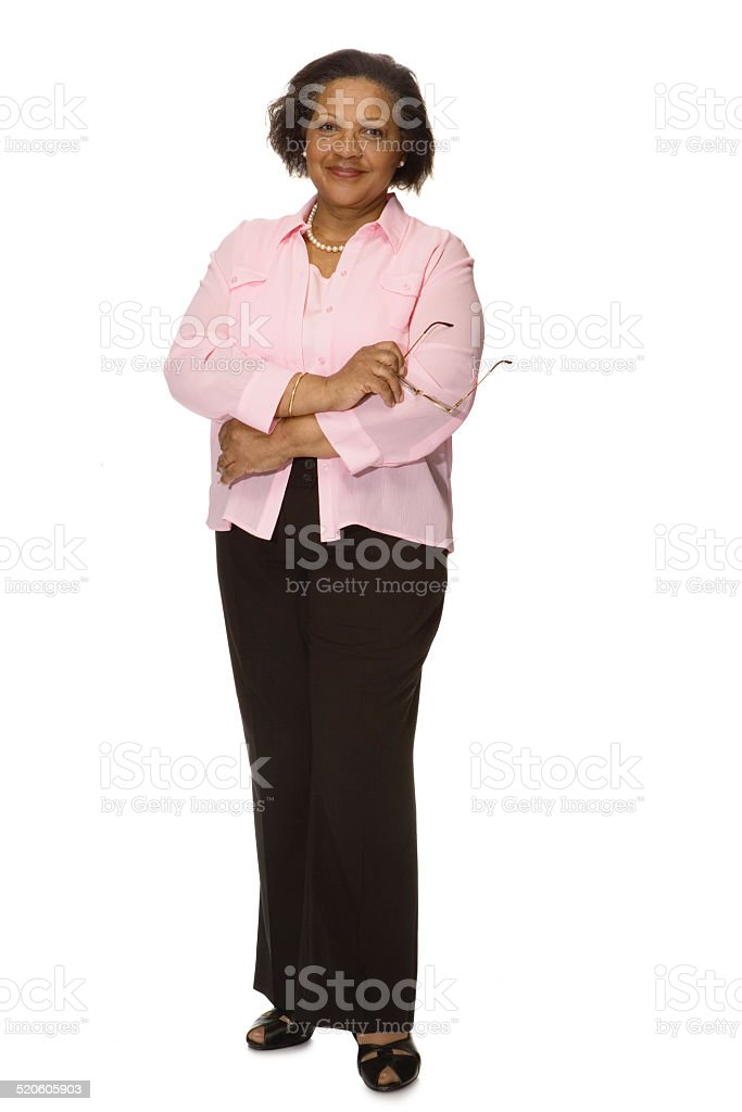 Senior woman smiling, portrait stock photo