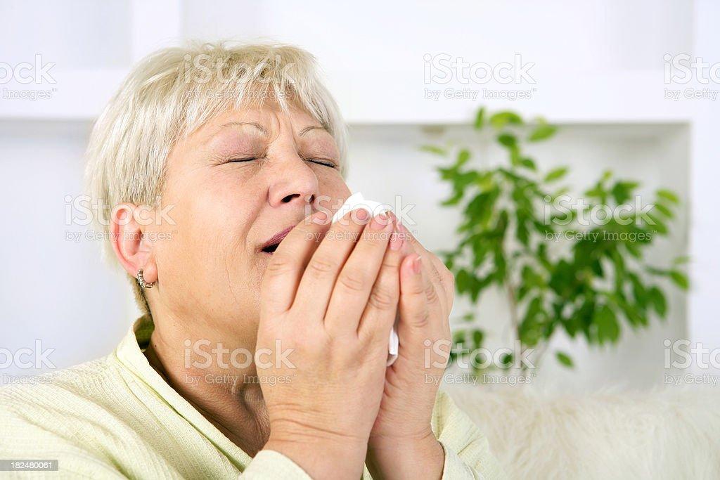 Senior woman sneezing royalty-free stock photo