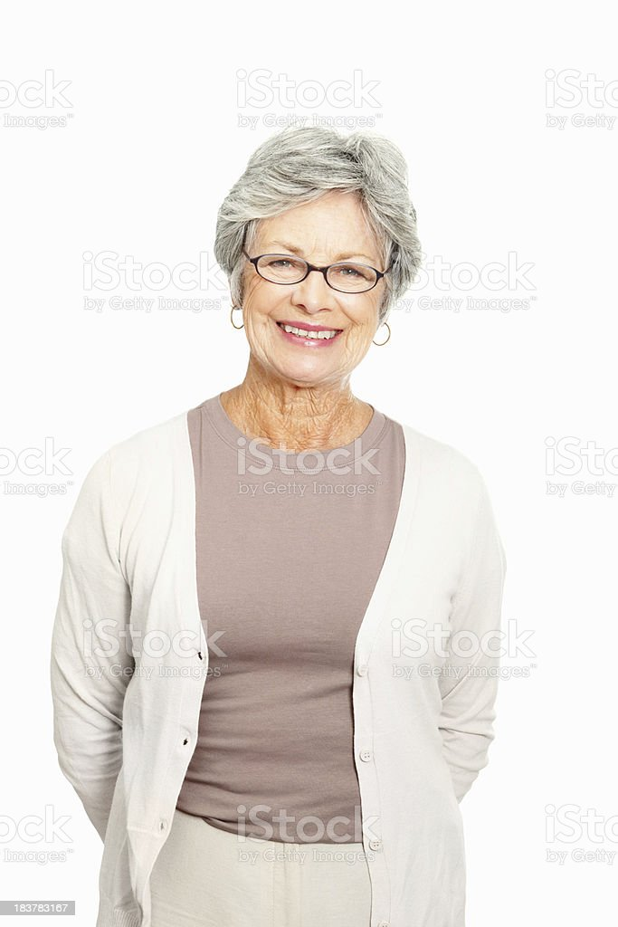 Senior woman standing on white background royalty-free stock photo