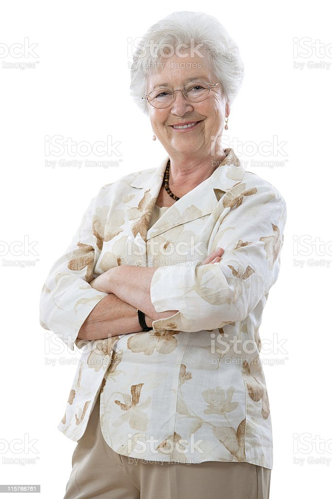 senior woman standing stock photo