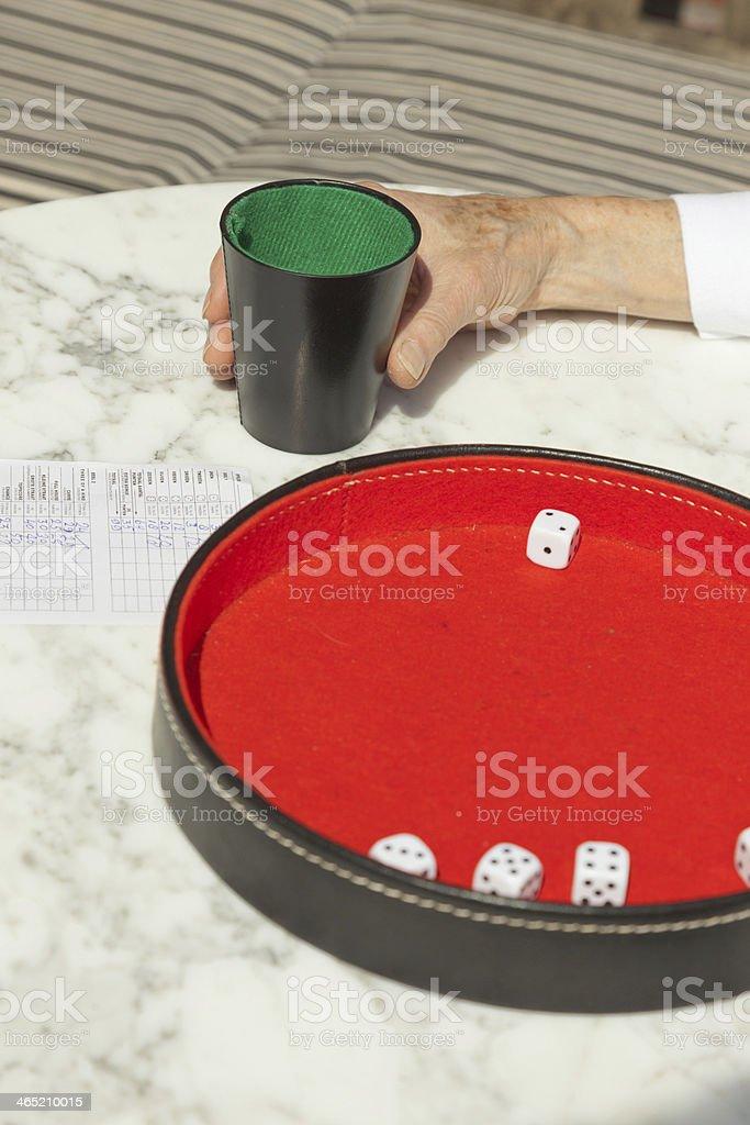 Senior woman throwing dice on board outdoor in garden. Yahtzee. stock photo