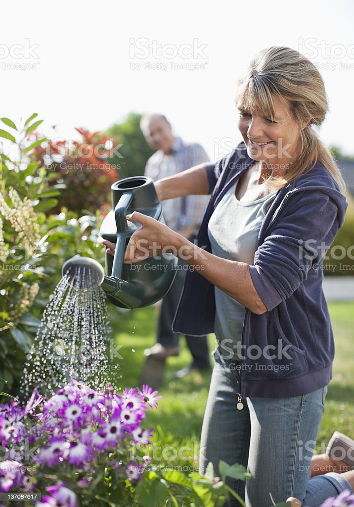 Senior woman watering flowers in garden with watering can royalty-free stock photo