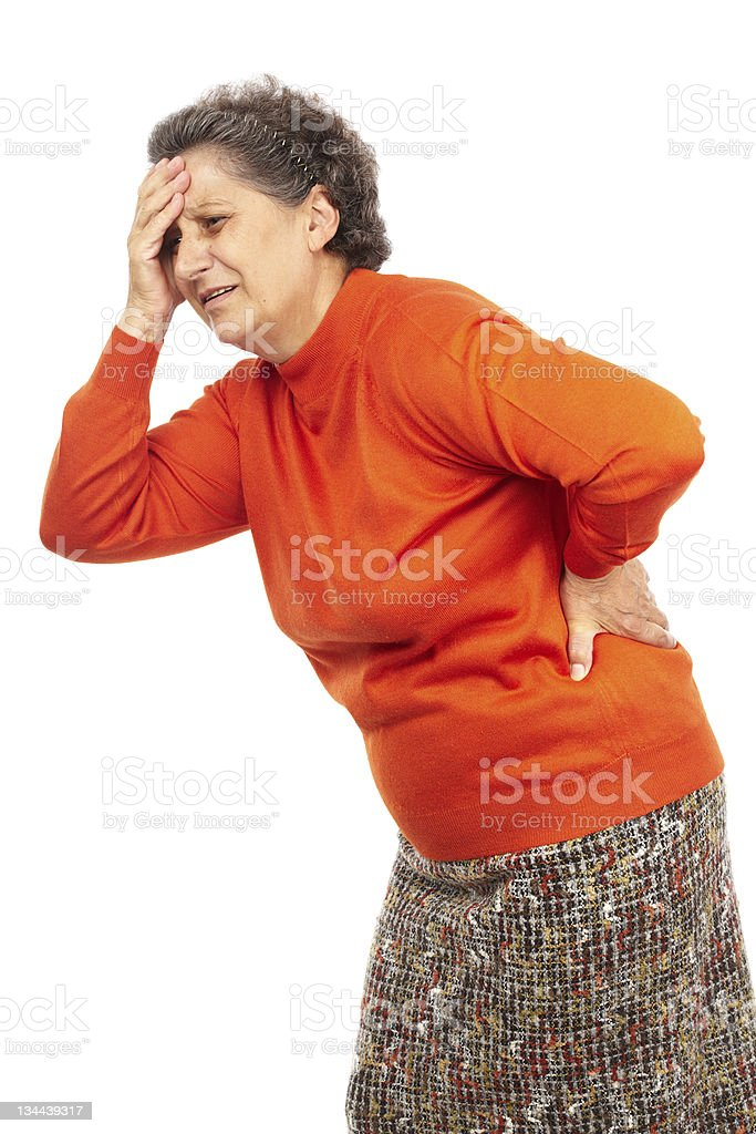 Senior woman with backache royalty-free stock photo