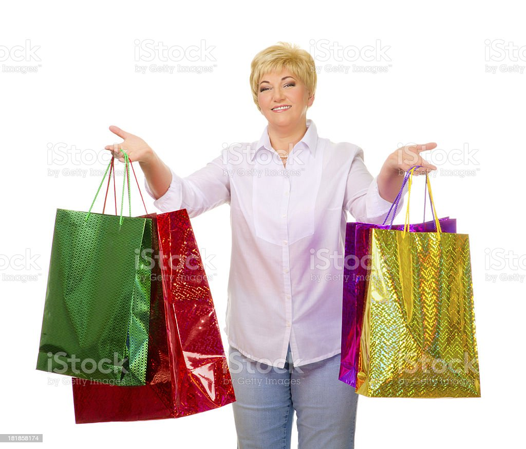 Senior woman with bags royalty-free stock photo