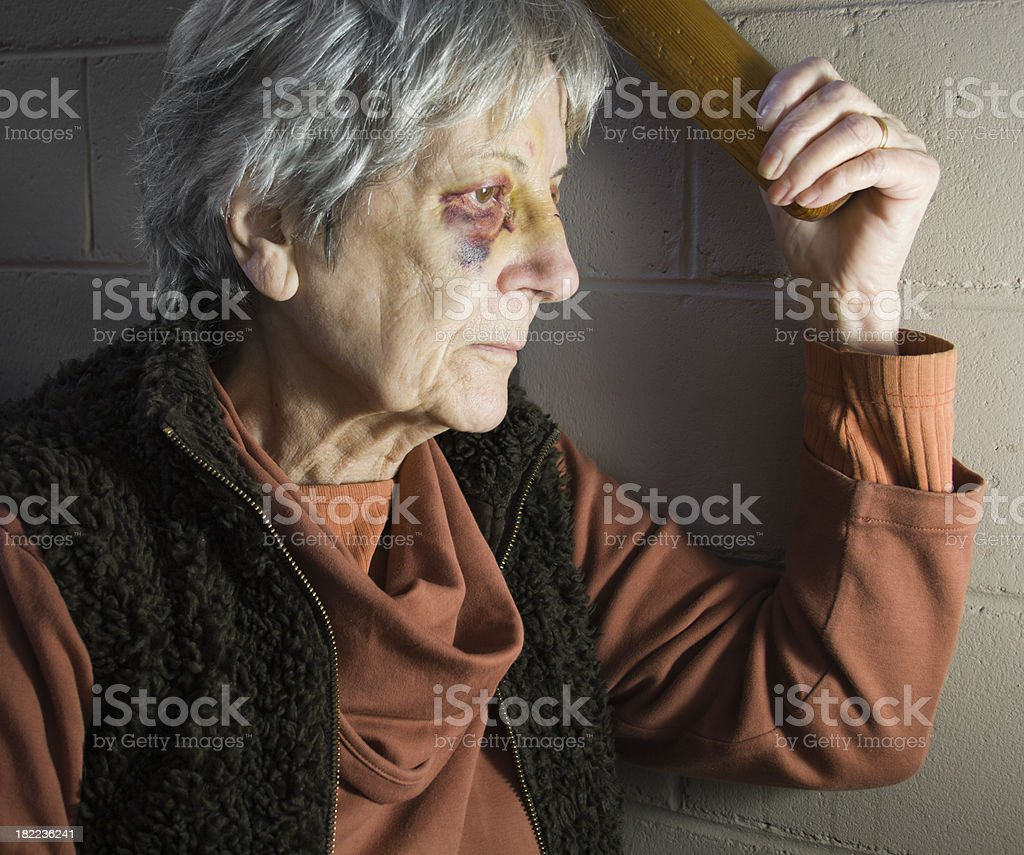 Senior Woman with Black Eyes royalty-free stock photo