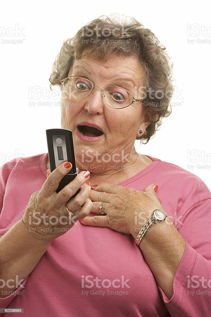 Senior Woman with Cell Phone royalty-free stock photo