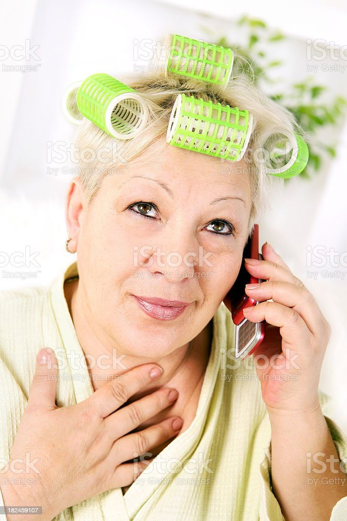 Senior woman with cellphone royalty-free stock photo