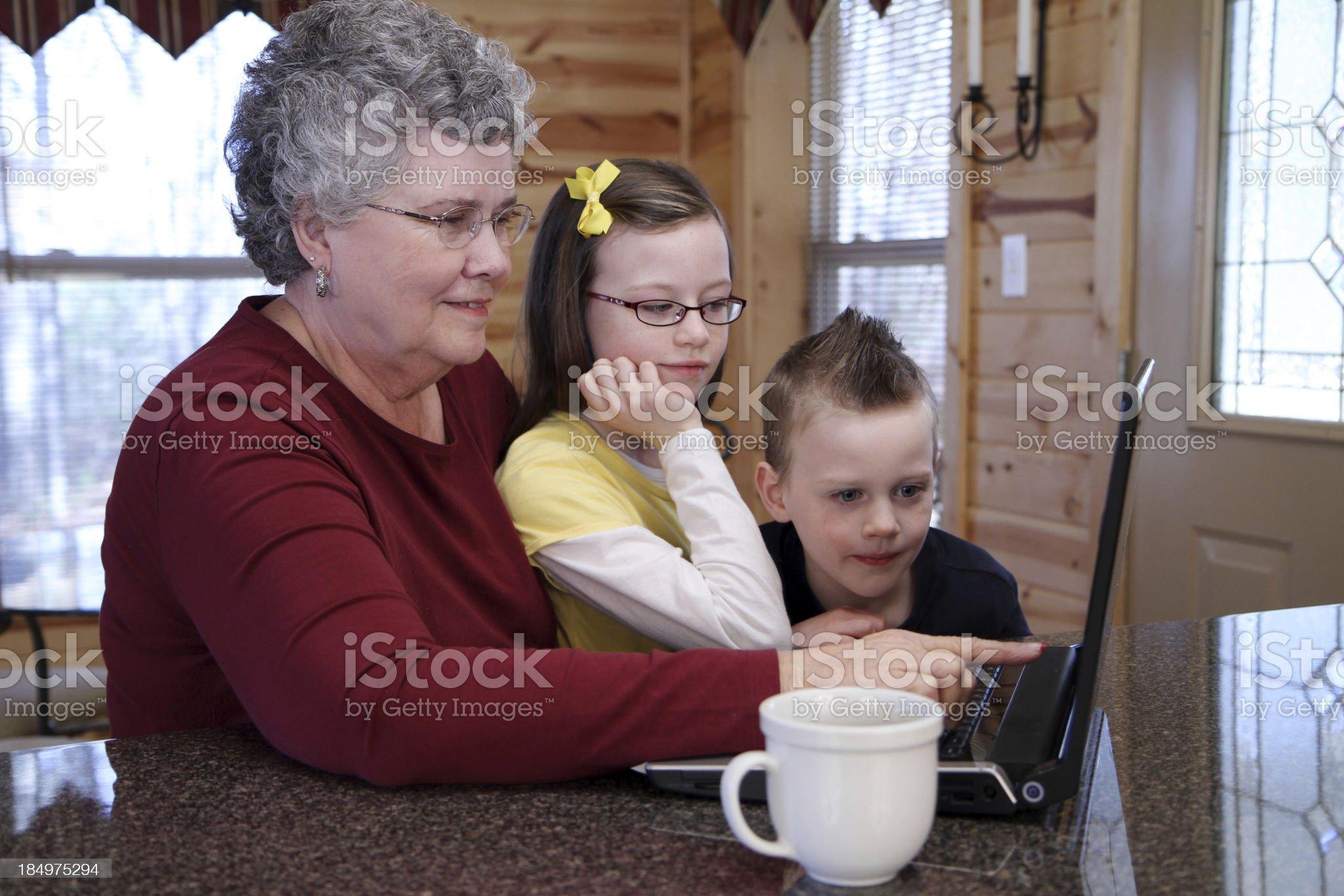 Senior Woman with Children royalty-free stock photo