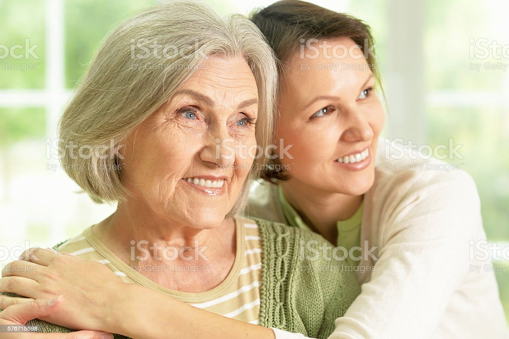 Senior woman with daughter stock photo