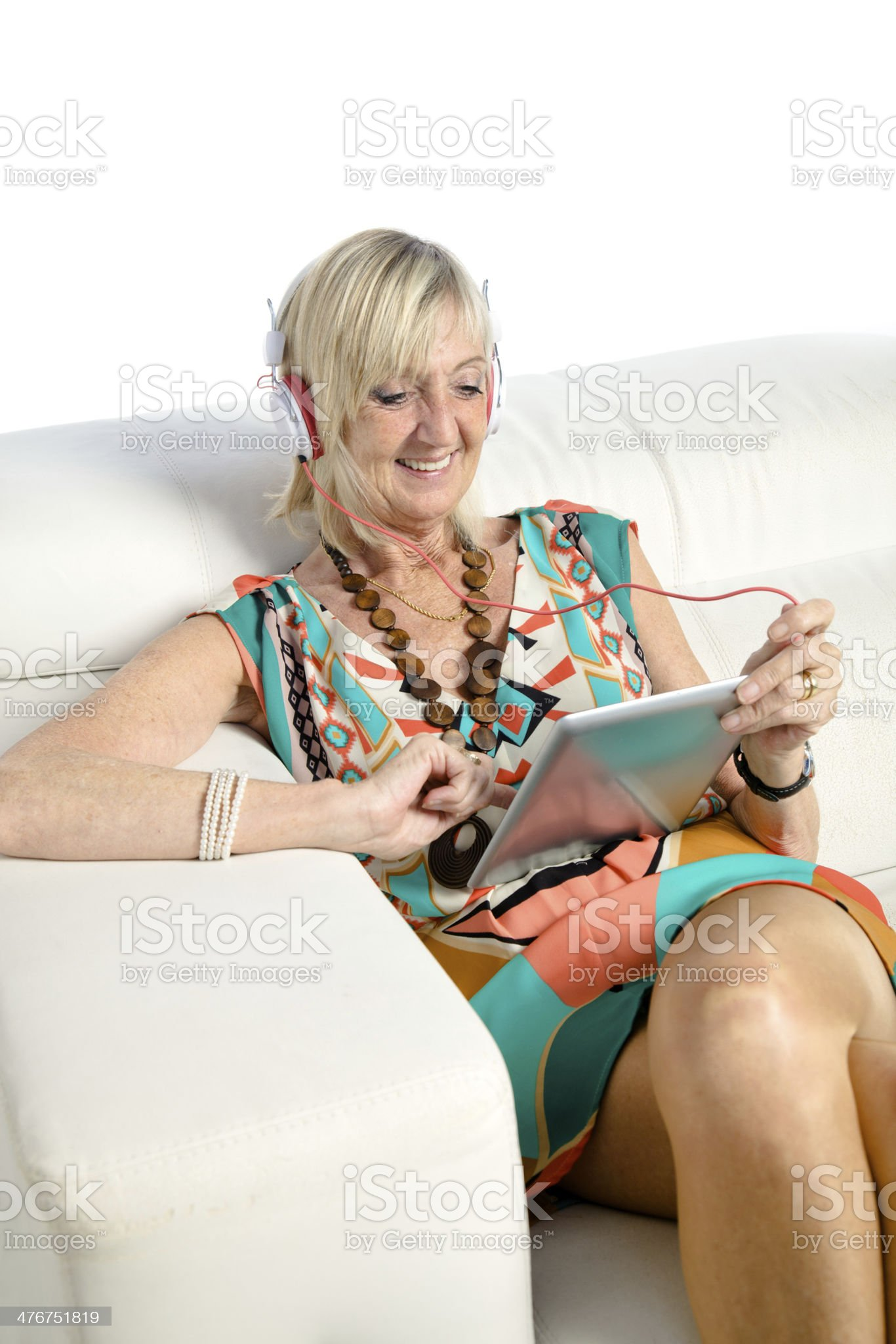 Senior woman with digital tablet royalty-free stock photo