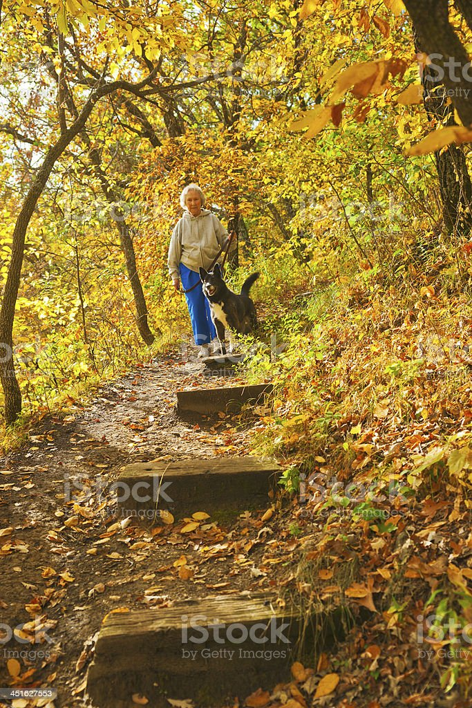 Senior Woman with Dog on Forest Trail royalty-free stock photo