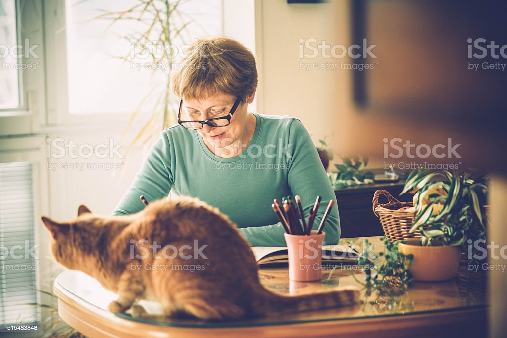 Senior Woman with Eyeglasses Coloring Book at Home, Europe stock photo