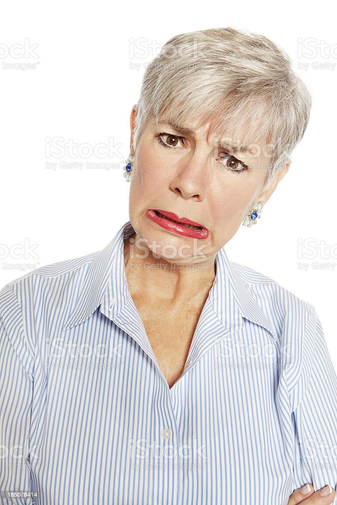 Senior Woman With Frowny Look royalty-free stock photo