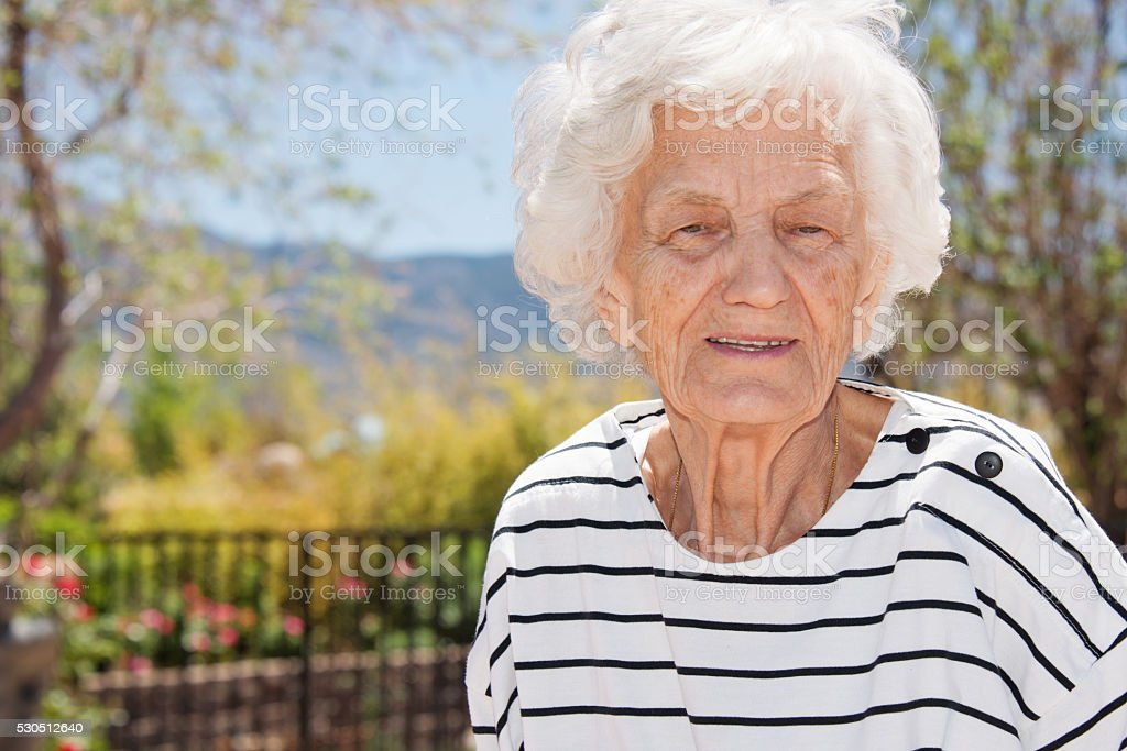 Senior Woman with Gray Hair stock photo