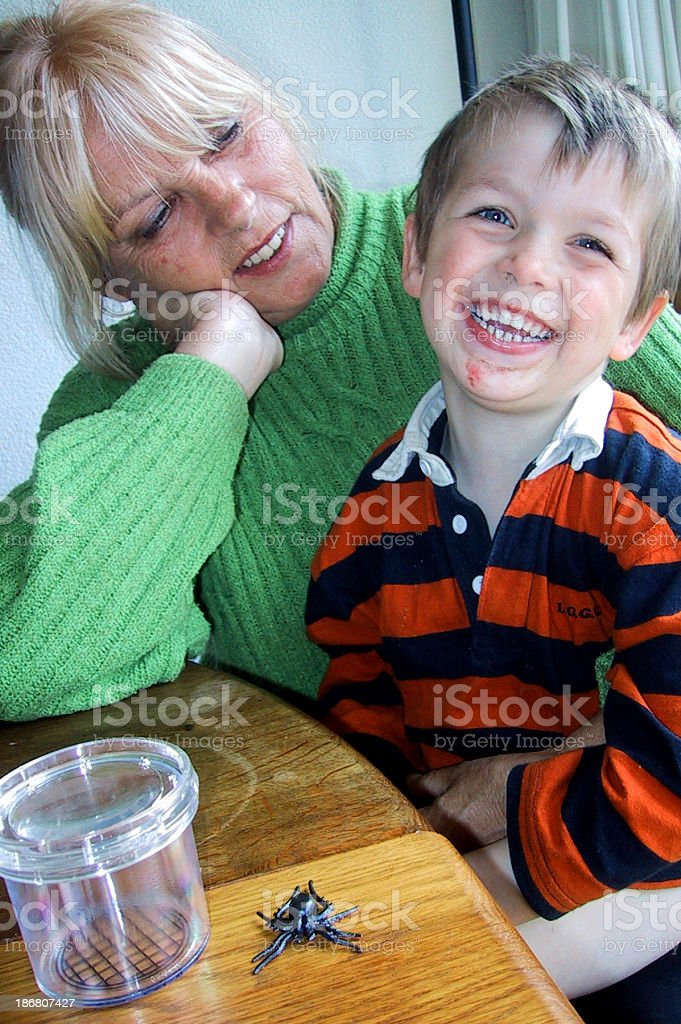'Senior woman with happy grandson on lap at table, laughing' stock photo