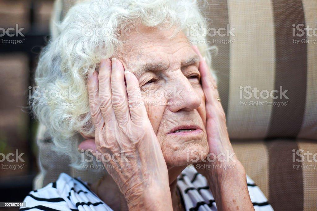 Senior Woman with Headache stock photo