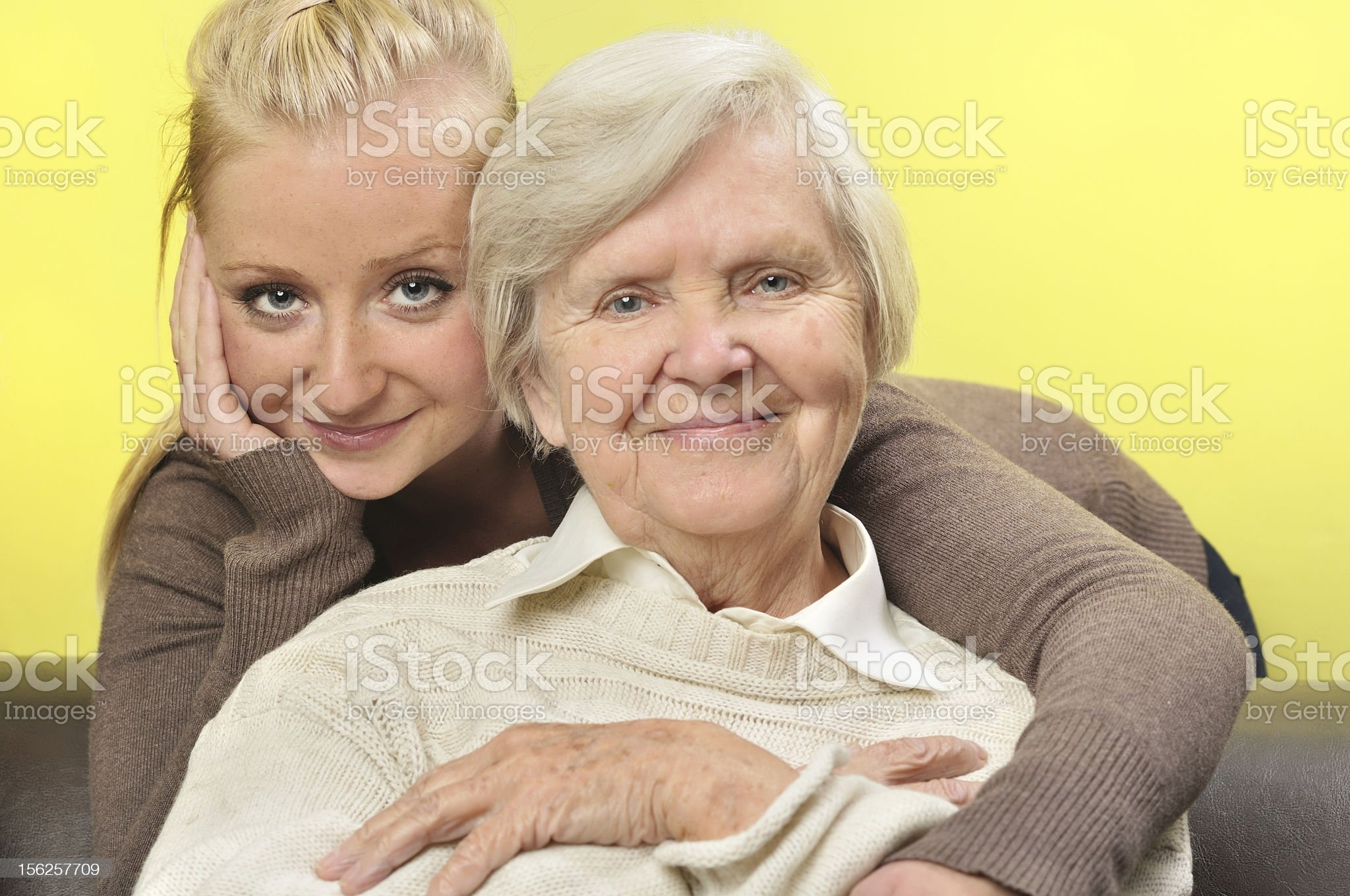 Senior woman with her granddaughter. Happy and smiling. royalty-free stock photo