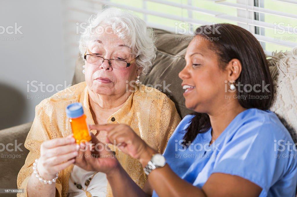 Senior woman with prescription medicine stock photo