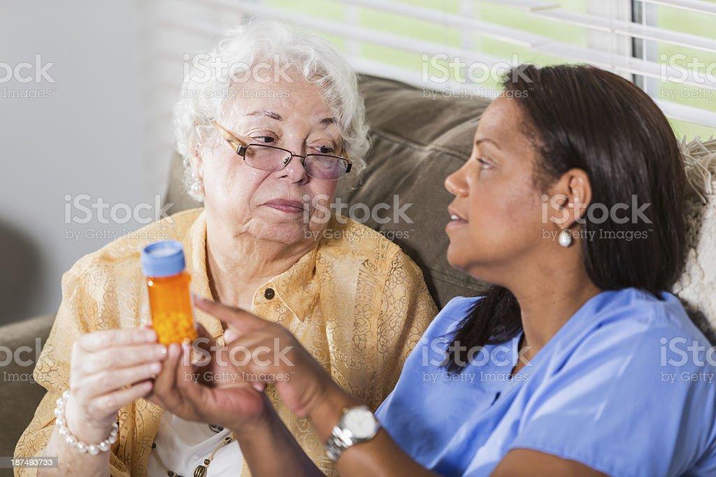 Senior woman with prescription medicine royalty-free stock photo