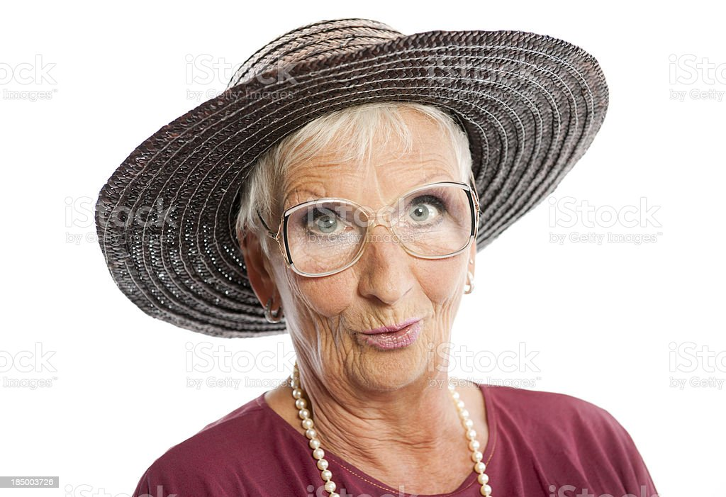 Senior woman with sun hat royalty-free stock photo