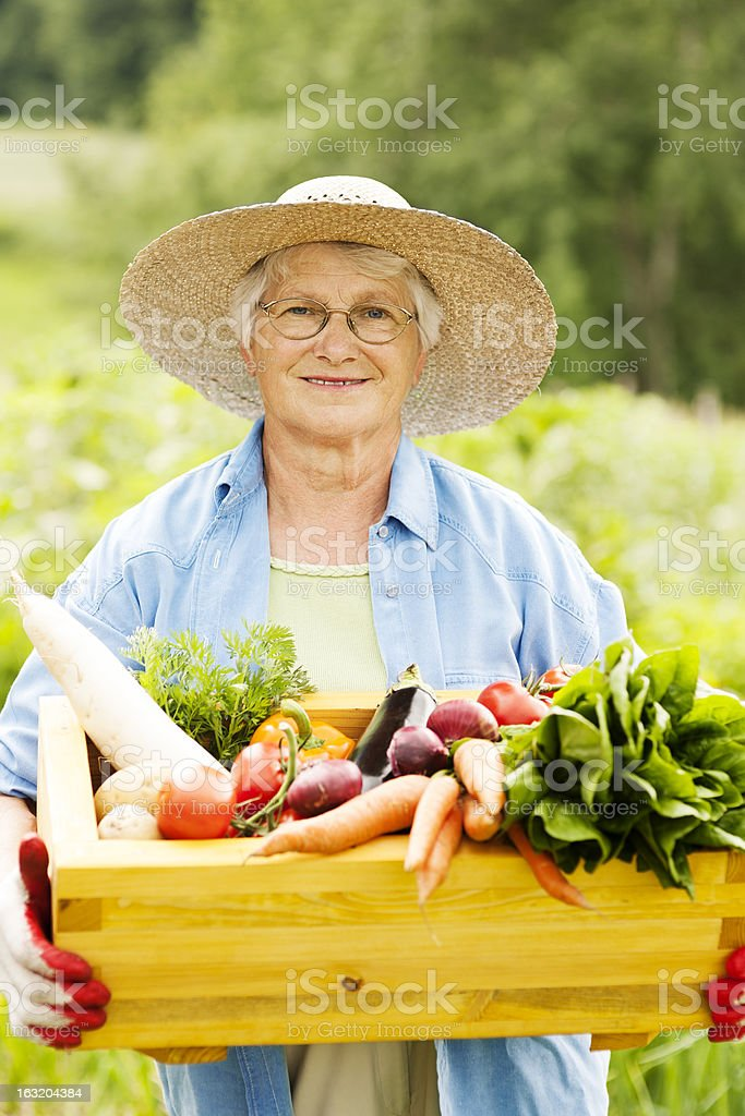 Senior woman with vegetables royalty-free stock photo