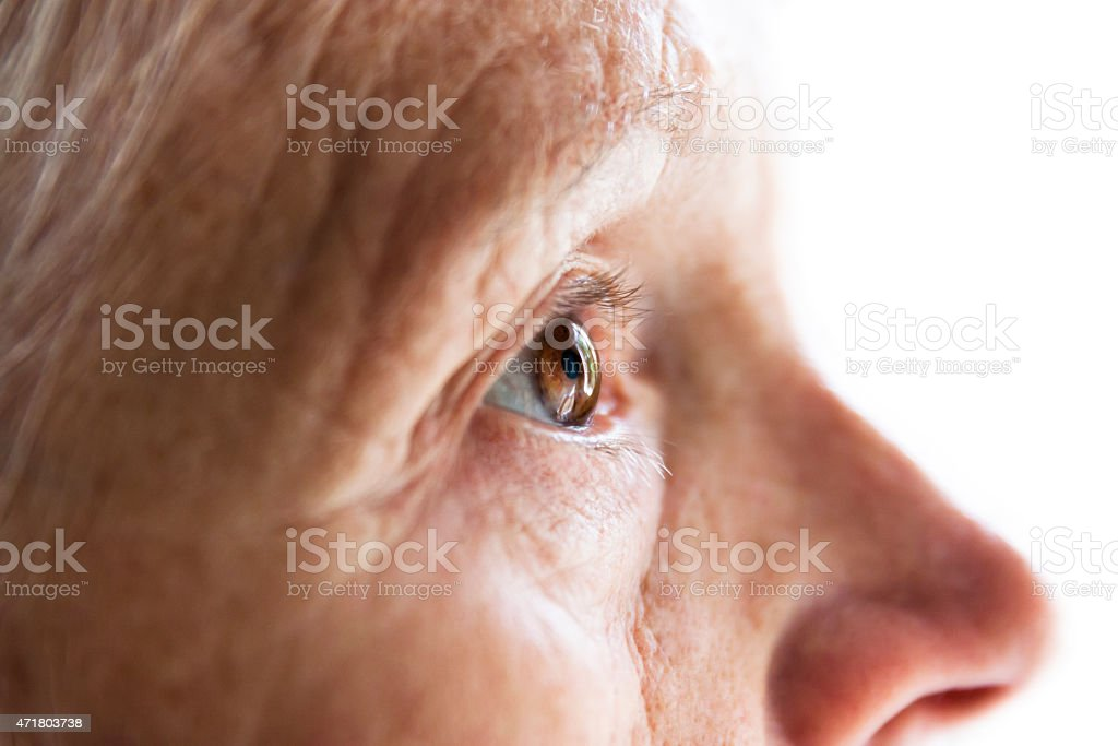 Senior woman's brown eye, side view, white background, copy space stock photo