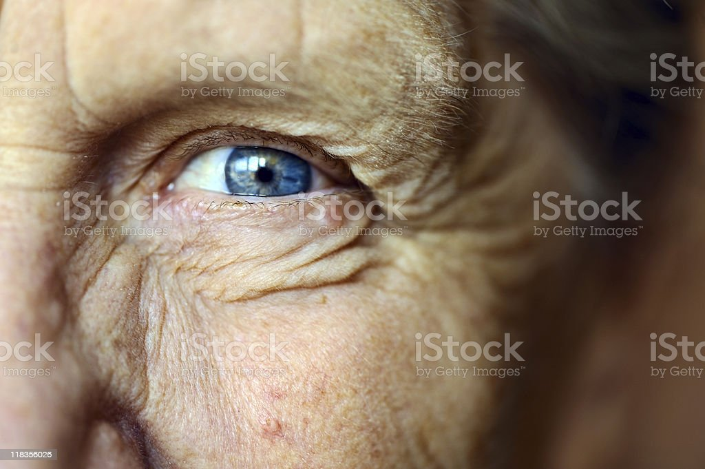 Senior woman's eye stock photo